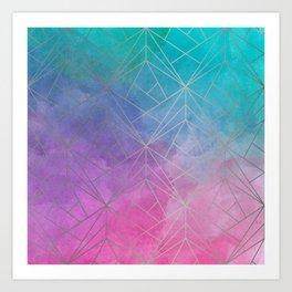 Watercolor Geometric Silver Pattern Art Art Print