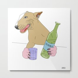 dog drinking vodka Metal Print