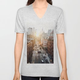 A New York Sunset Unisex V-Neck