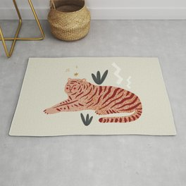 Resting Tiger Jungle Motif Midcentury Modern Cool Magical Mystical Abstract Art Bohemian Boho Style Trendy  Rug