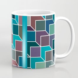 Cubic Abstraction - Minimal Abstract Art Turquoise Blue Coffee Mug