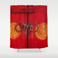 buddhism Shower Curtains featuring Temple Door by Maria Heyens