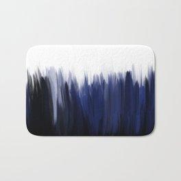 Modern blue cobalt black oil paint brushstrokes abstract Bath Mat