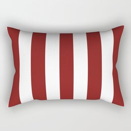 Falu red - solid color - white vertical lines pattern Rectangular Pillow
