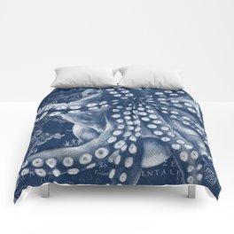 Octopus Vintage Map Blue Nautical Art Comforters