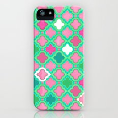 Girly Moroccan Lattice Pattern in Pink, Mint, Emerald Green & White iPhone (5, 5s) Slim Case