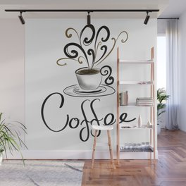 Coffee Cup With Flourish Steam Wall Mural