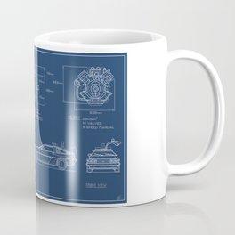 DMC DeLorean Blueprint Coffee Mug