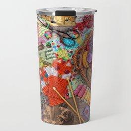Vintage Yarn & Thread Travel Mug