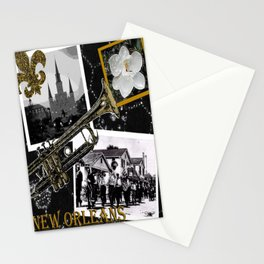 Classic New Orleans Black & white vintage collage Stationery Cards