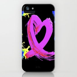 Pink Heart Ribbon (with Tie-Dye Blue-Yellow) for Breast Cancer Research by Jeffrey G. Rosenberg iPhone Case