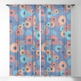 Modern abstract florals with voice and noise Sheer Curtain