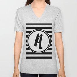A Striped Monogram Unisex V-Neck