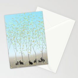 Morning Falling Leaves and Bunnies Stationery Cards