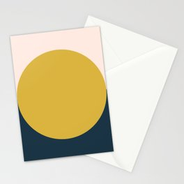 Horizon. Mustard Yellow Sun Dot on Pale Blush Pink and Navy Blue Color Block. Minimalist Geometric Stationery Cards