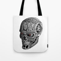 terminator Tote Bags featuring Ornate Terminator by Adrian Dominguez