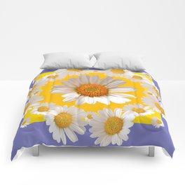 DECORATIVE YELLOW WHITE DAISIES Comforters