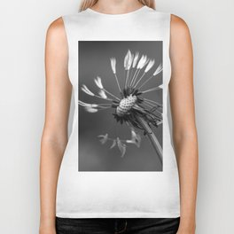 Almost naked black and white dandelion Biker Tank