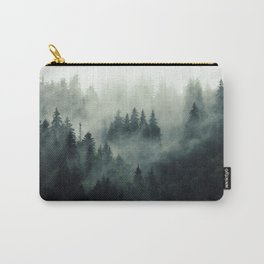 Misty pine fir forest landscape in hipster vintage retro style Carry-All Pouch