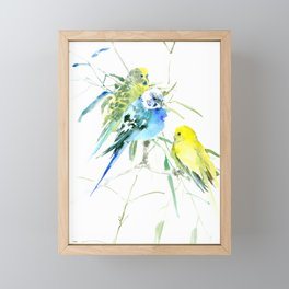 Parakeets green yellow blue bird decor Framed Mini Art Print