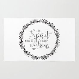 """""""The Spirit Helps Us in Our Weakness"""" Bible Verse Rug"""