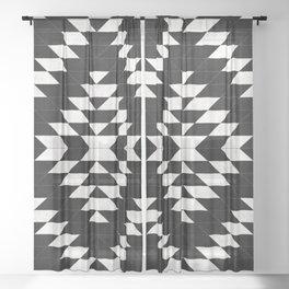 Urban Tribal Pattern No.14 - Aztec - Black Concrete Sheer Curtain