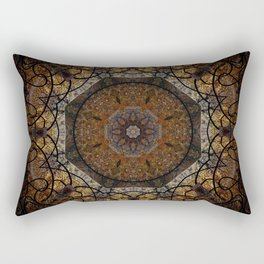 Rich Brown and Gold Textured Mandala Art Rectangular Pillow