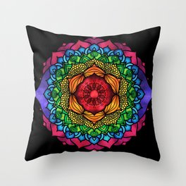 Colorful Seven Chakra Mandala Throw Pillow