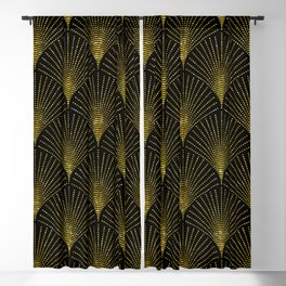 Back and gold art-deco geometric pattern Blackout Curtain