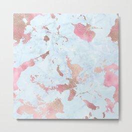 Rose Gold Foil on Summer Blue Marble Metal Print