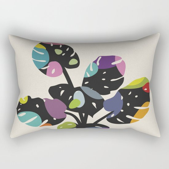 Happy Bright Leaves - Monstera (II) Rectangular Pillow