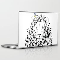 tits Laptop & iPad Skins featuring Beautiful Hand Drawn Lion Pointillism Illustration with Blue Tits by KelseyEmblow