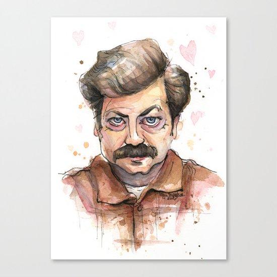Ron Swanson Love Valentine Portrait Canvas Print