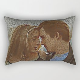 Text Portrait of Ethan Hawke and Julie Delpy with Full Script of the movie Before Sunrise Rectangular Pillow
