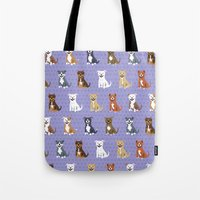 pit bull Tote Bags featuring American PIT BULL TERRIERS by Doggie Drawings