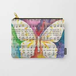 O Happy Day  Butterfly Watercolor on Sheet Music Carry-All Pouch