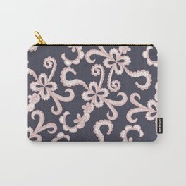 Blush Pink White Floral Lace on Navy Blue Carry-All Pouch