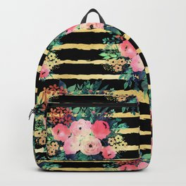 Pretty Pink Flowers Paint Gold Stripes Pattern Backpack