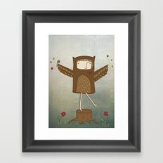 Little Owl Girl Framed Art Print