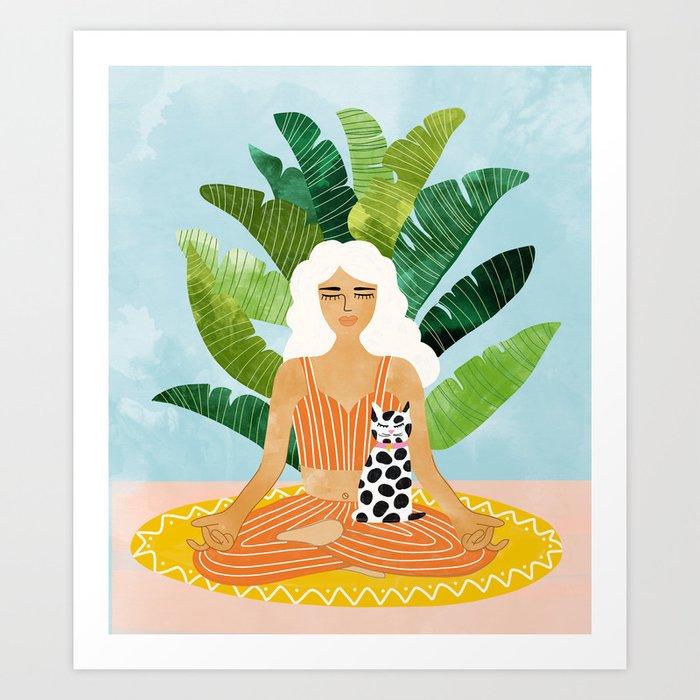Meditation With Thy Cat #illustration #painting Art Print