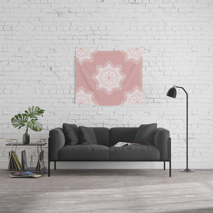 Pink Pastel Mandala Wall Tapestry