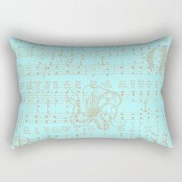 Vintage aqua brown nautical classic music sheet Rectangular Pillow