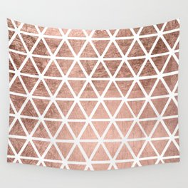 Geometric faux rose gold foil triangles pattern Wall Tapestry