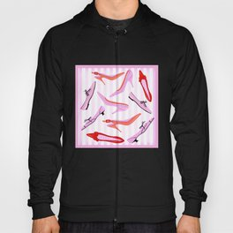 Pink Stiped Shoe And High Heel Pattern Hoody