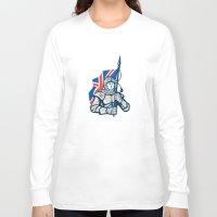 british flag Long Sleeve T-shirts featuring Knight British Flag Retro by patrimonio