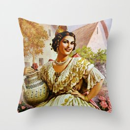 Mexican Calendar Girl in Embroidered Dress by Jesus Helguera Throw Pillow