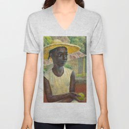 African American Masterpiece 'Ancilla with an Orange' by Dod Procter Unisex V-Neck