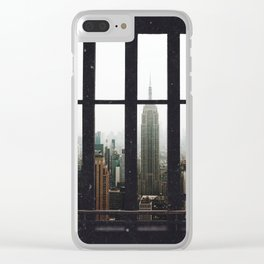 New York City Skyline Window View Clear iPhone Case