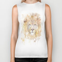 """Watercolor Painting of Picture """"African Lion"""" Biker Tank"""