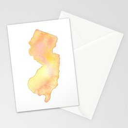 Coral Watercolor State of New Jersey Stationery Cards